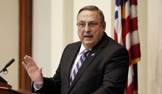 Gov. Paul LePage delivers his State of the State address to the Legislature at the Statehouse in Augusta, Maine, in this Feb. 3, 2015, file photo. (AP Photo/Joel Page, File)