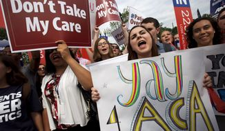 "Jessica Ellis, right, holds a sign that says ""yay 4 ACA,"" as she and other supporters of the Affordable Care Act react with cheers as the opinion for health care is reported outside of the Supreme Court in Washington, Thursday June 25, 2015, in Washington. (AP Photo/Jacquelyn Martin)"