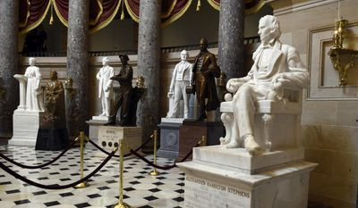A statue of Alexander Hamilton Stephens is on display in Statuary Hall on Capitol Hill in Washington, Wednesday, June 24, 2015. (AP Photo/Susan Walsh)