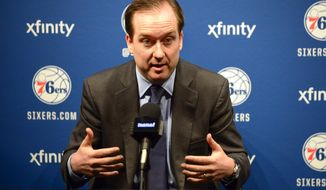 Philadelphia 76ers general manager Sam Hinkie talks about the team's decision to draft Duke center Jahlil Okafor during an NBA basketball news conference, Friday, June 26, 2015, in Philadelphia. (Ben Mikesell/The Philadelphia Inquirer via AP)