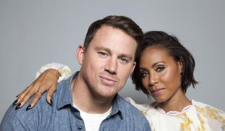 "In this Thursday, June 18, 2015, photo, actors Channing Tatum, left, and Jada Pinkett Smith pose for a portrait in promotion of the new film, ""Magic Mike XXL,"" in West Hollywood, Calif. The movie releases in the U.S. on July 1, 2015. (Photo by Rebecca Cabage/Invision/AP)"
