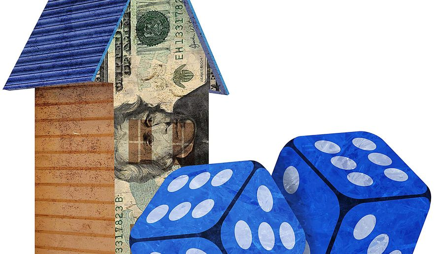Illustration on risks in the current housing market by Greg Groesch/The Washington Times