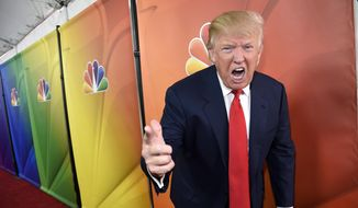 "Donald Trump, host of the television series ""The Celebrity Apprentice,"" mugs for photographers at the NBC 2015 Winter TCA Press Tour in Pasadena, Calif., on Jan. 16, 2015. (Chris Pizzello/Invision/Associated Press) ** FILE **"