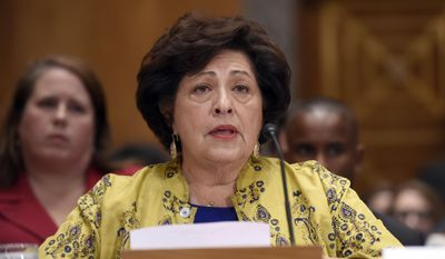Office of Personnel Management (OPM) Director Katherine Archuleta testifies on Capitol Hill in Washington in June. FILE (Associated Press)