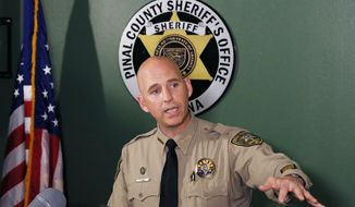 Pinal County Sheriff Paul Babeu speaks during a news conference Thursday, July 2, 2015, in Florence, Ariz., announcing that the buried bodies of missing couple Michael and Tina Careccia were recovered from the home of 38-year-old Jose Valenzuela. Valenzuela was booked into jail on suspicion of first-degree murder.  (AP Photo/Ross D. Franklin)