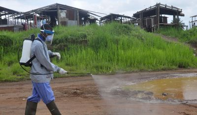Ebola health workers spray disinfectant on a road near the home of a 17-year-old boy that died from the Ebola virus on the outskirts of Monrovia, Liberia, Wednesday, July 1, 2015. (AP Photo/ Abbas Dulleh)