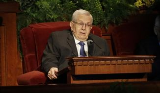 President Boyd K. Packer of the Quorum of Twelve Apostles of The Church of Jesus Christ of Latter-day Saints, addresses the 184th Annual General Conference of the LDS in Salt Lake City on April 6, 2014. The Mormon leader died Friday, July 3, 2015, at age 90. Church spokesman Eric Hawkins said Packer died at his home in Salt Lake City from natural causes. (AP Photo/Rick Bowmer, File)