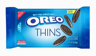 """""""Oreo Thins"""" will have a similar cookie-to-filling ratio as regular Oreos, but are slimmer. (Associated Press)"""