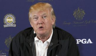 Donald Trump speaks during a news conference in Rancho Palos Verdes, Calif., in this March 10, 2015, file photo. The PGA of America is moving its Grand Slam of Golf from Donald Trump's golf course in Los Angeles. (AP Photo/Nick Ut, File)