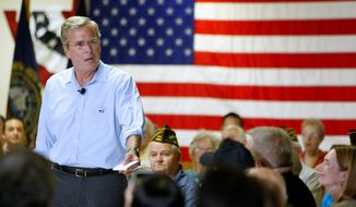 """In response to a voter's question at a New Hampshire forum, Republican presidential candidate Jeb Bush reiterated that """"I honestly think we need to provide a path to legalized status, not citizenship, for illegal immigrants."""" Analysts say it is hard to pin down Mr. Bush on the immigration issue. (Associated Press)"""