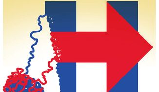 Illustration on the deteriorating Hillary campaign by Alexander Hunter/The Washington Times