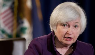 Federal Reserve Chair Janet Yellen speaks during a news conference following a Federal Open Market Committee meeting in Washington in this Wednesday, June 17, 2015, file photo. (AP Photo/Manuel Balce Ceneta, File)