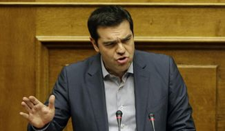 Greece's Prime Minister Alexis Tsipras delivers a speech during a parliament meeting in Athens, Saturday, June 11, 2015. (AP Photo/Thanassis Stavrakis) ** FILE **