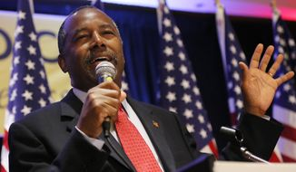 Republican presidential candidate Dr. Ben Carson speaks during the National Right to Life convention, Friday, July 10, 2015, in New Orleans. (AP Photo/Jonathan Bachman)