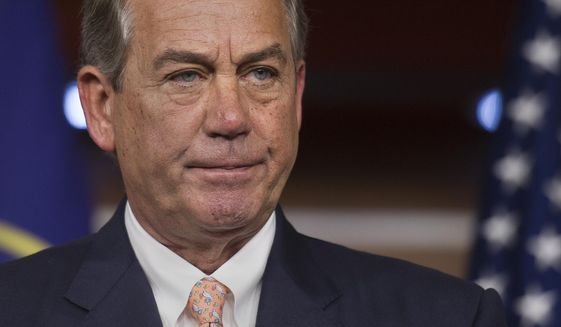"""House Speaker John A. Boehner, Ohio Republican, """"has endeavored to consolidate power and centralize decision-making, bypassing the majority of the 435 Members of Congress and the people they represent,"""" said Rep. Mark Meadows, North Carolina Republican, in his motion. (Associated Press)"""
