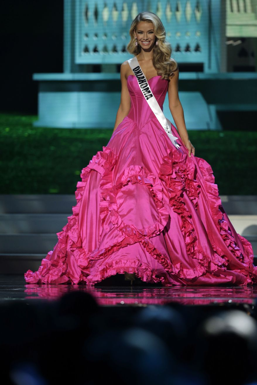 Miss Oklahoma Olivia Jordan competes in the evening gown competition during the preliminary round of the 2015 Miss USA Pageant in Baton Rouge, La., on July 8, 2015. (Associated Press)