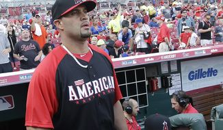 American League's Albert Pujols, of the Los Angeles Angels, walks onto the field during batting practice during All-Star event, Monday, July 13, 2015, in Cincinnati. (AP Photo/John Minchillo)