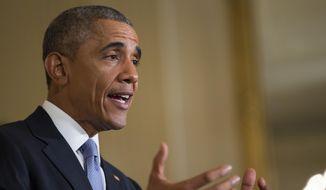 President Barack Obama speaks during the 2015 White House Conference on Aging, Monday, July 13, 2015, in the East Room of the White House in Washington. The president said a secure retirement is a critical component of what it means to be middle class in America. (AP Photo/Evan Vucci)