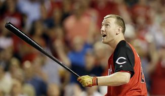 Todd Frazier of the Cincinnati Reds participates in the MLB All-Star baseball Home Run Derby, Monday, July 13, 2015, in Cincinnati. (Associated Press)