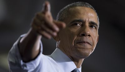 President Obama speaks at the University of Wisconsin at La Crosse on July 2, 2015, about the economy and to promote a proposed Labor Department rule that would make more workers eligible for overtime. (Associated Press) **FILE**