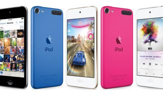 This composite product image provided by Apple shows varieties of the new iPod Touch, available for sale on Wednesday, July 15, 2015. Apple is refreshing its iPod Touch music player for the first time in nearly three years, as the company seeks to make music a central part of its devices once again. (Apple via AP)