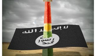 Illustration on the Kurds as an effective foe to ISIS by Alexander Hunter/The Washington Times