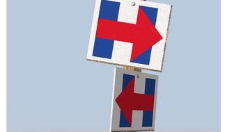 Illustration on Hillary Clinton's changing directions by Alexander Hunter/The Washington Times