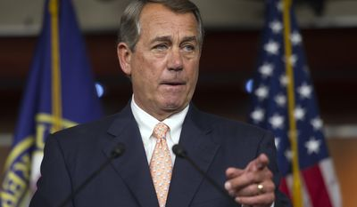 FILE - In this July 9, 2015 file photo, House Speaker John Boehner of Ohio gestures during a news conference on Capitol Hill in Washington. The Department of Veterans Affairs faces a serious numbers problem _ multiple in fact. It can't count how many veterans died while waiting to sign up for health care. It says some VA hospitals may have to close if the agency can't get $2.5 billion. And a year after scandal rocked the department, congressional Republicans want to know why the number of employees fired is so low. (AP Photo/Cliff Owen, File)