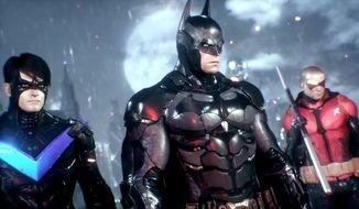 Nightwing and Robin join the Caped Crusdare to save Gotham City in the video game Batman: Arkham Knight.