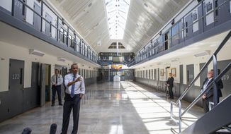 President Barack Obama speaks at the El Reno Federal Correctional Institution,  in El Reno, Okla., Thursday, July 16, 2015. As part of a weeklong focus on inequities in the criminal justice system, the president will meet separately Thursday with law enforcement officials and nonviolent drug offenders who are paying their debt to society at the El Reno Federal Correctional Institution, a medium-security prison for male offenders near Oklahoma City. (Associated Press) **FILE**