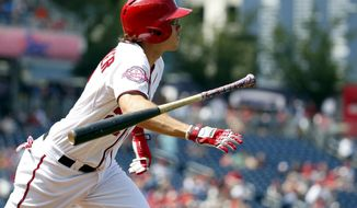 Washington Nationals' Matt den Dekker tosses his bat as he runs the bases for his two-run game winning homer during the eighth inning of a resumed baseball game against the Los Angeles Dodgers at Nationals Park, Saturday, July 18, 2015, in Washington. The game was resumed in the top of the sixth inning after it was suspended July 17 due to a problem with the lights. The Nationals won 5-3. (AP Photo/Alex Brandon)