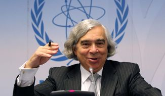 Energy Secretary Ernest Moniz speaks  during the general conference of the International Atomic Energy Agency, IAEA, at the International Center in Vienna, Austria. (AP Photo/Ronald Zak, File)
