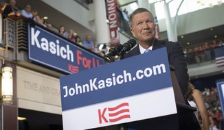 Ohio Gov. John Kasich announces he is running for the 2016 Republican party's nomination for president during a campaign rally at Ohio State University, Tuesday, July 21, 2015, in Columbus, Ohio. Kasich, 63, launched his campaign  before a crowd of 2,000 at an event marking the entry of a strong-willed and sometimes abrasive governor in a nomination race now with 16 notable Republicans.  (AP Photo/John Minchillo)