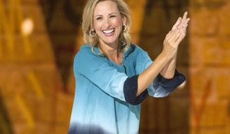 """In this April 30, 2015 file photo, actress Marlee Matlin appears during the We Day Illinois 2015 in Chicago. Matlin is joining the Deaf West Theatre production of """"Spring Awakening"""" on Broadway. The Oscar and Golden Globe winner will make her Broadway debut in the upcoming revival in September, which will feature a cast of 27 that blends hearing and deaf performers. (Photo by Barry Brecheisen/Invision/AP, File)"""