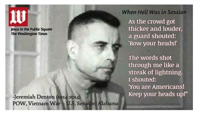 "Jeremiah Denton, screenshot from the famous film footage of his captivity as a POW in Vietnam. Denton answered the questions, all the while spelling out ""t-o-r-t-u-r-e"" in Morse code with the blinking of his eyelids."
