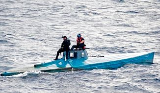 "U.S. authorities seize a ""narco-sub"" with roughly 17,000 pounds of cocaine off the coast of El Salvador, July 18, 2015. (Image: U.S. Customs and Border Patrol) ** FILE **"