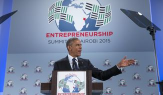President Barack Obama delivers a speech at the Global Entrepreneurship Summit at the United Nations Compound, Saturday, July 25, 2015, in Nairobi. (AP Photo/Evan Vucci)