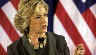 Democratic presidential hopeful Hillary Rodham Clinton delivers a speech, Friday, July 24, 2015, at the New York University Leonard N. Stern School of Business in New York.  (AP Photo/Mary Altaffer)