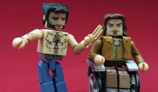 Diamond Select Toys' X-Men: Days of Future Past Minimates collection includes includes the two-pack of  Charles Xavier and Bone Claw Wolverine. (Photograph by Joseph Szadkowski / The Washington Times)
