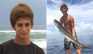 This combination made from photos provided by the U.S. Coast Guard shows Perry Cohen, left, and Austin Stephanos, both 14 years old. Cohen and Stephanos were last seen Friday afternoon, July 24, 2015, in the Jupiter, Fla., area buying fuel for their 19-foot boat before embarking on a fishing trip. (U.S. Coast Guard via AP)
