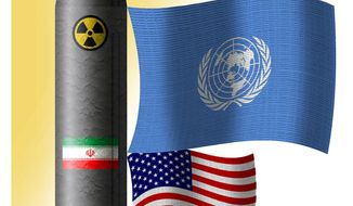 Illustration on the dominance of the U.N in the Obama/Iran nuclear arms deal by Alexander Hunter/The Washington Times