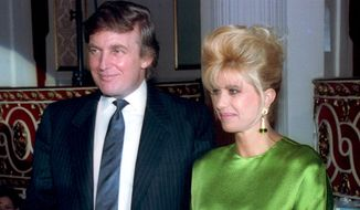Donald Trump, left, and his ex-wife, Ivana Trump, stand together at a reception prior to the Hotel Industry Annual Candlelight Gala held at New York's Plaza Hotel, Tues., April 9, 1991. (Associated Press)