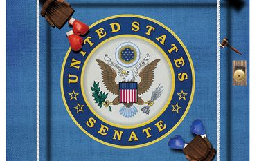 Illustration on courtesy, respect and rules in the U.S. Senate by Linas Garsys/The Washington Times