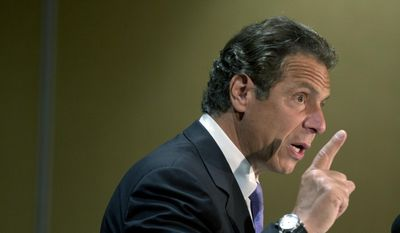 New York Gov. Andrew Cuomo speaks at the New York State Labors' meeting on Tuesday, July 28, 2015, in Bolton Landing, N.Y. (AP Photo/Mike Groll) ** FILE **