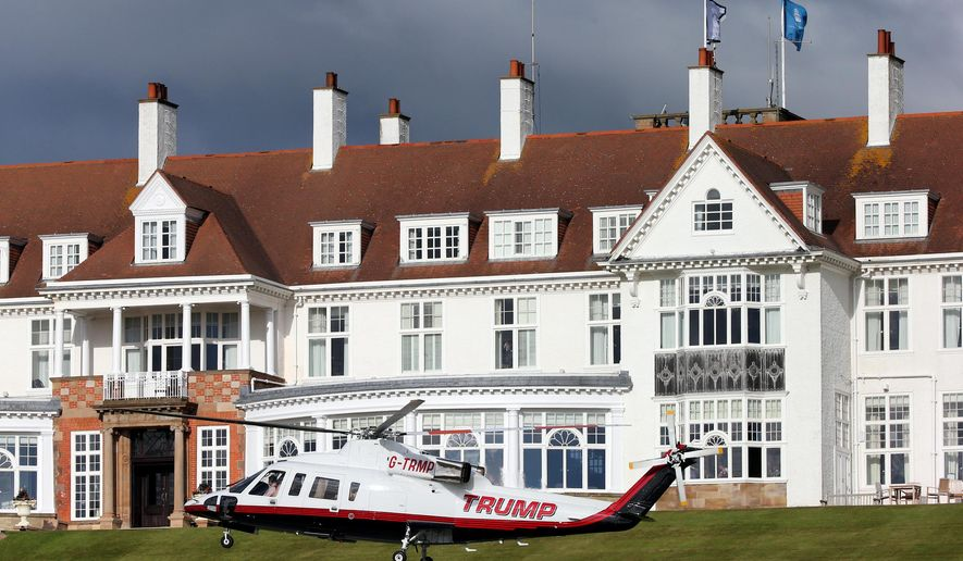 A helicopter owned by Donald Trump departs from the ...