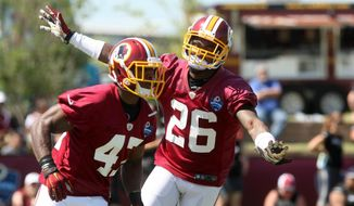 Washington Redskins cornerback Bashaud Breeland, right, and Washington Redskins defensive back Akeem Davis go through offensive drills during the teams NFL football training camp in Richmond, Va., Friday, July 31, 2015.   (AP Photo/Jason Hirschfeld)