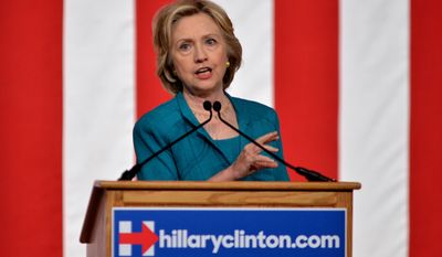 Democratic presidential candidate and former Secretary of State Hillary Rodham Clinton calls on Congress to end the trade embargo the U.S. has imposed against Cuba since 1962 during a campaign stop at Florida International University in Miami on July 31, 2015. (Associated Press)