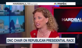 Democratic National Committee Chairwoman Debbie Wasserman Schultz was at a loss for words Thursday night after MSNBC's Chris Matthews pressed her on the differences between Democrats and socialists. (MSNBC)
