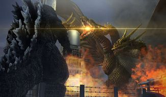 The King of the Monsters battles King Ghidorah in the video game Godzilla from Bandai Namco Entertainment.