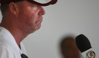 Washington Redskins general manager Scot McCloughan addresses members of the media during the team's NFL football training camp in Richmond, Va., Sunday, Aug. 2, 2015. (AP Photo/Jason Hirschfeld)